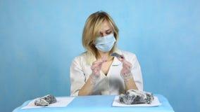 Dziewczyna laborancki technik egzamininuje próbki kopaliny zdjęcie wideo