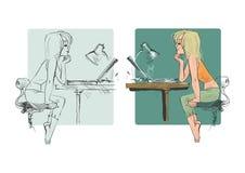 dziewczyna laptop ilustracja wektor