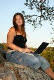 dziewczyna laptop Zdjęcie Royalty Free