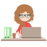 - dziewczyna laptop royalty ilustracja