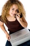 dziewczyna laptopa telefon Zdjęcie Stock