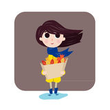 Dziewczyna lubi jesień Ilustracja Wektor