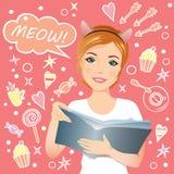 Dziewczyna mówi Meow! Zdjęcia Royalty Free