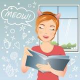 Dziewczyna mówi Meow! Obrazy Royalty Free