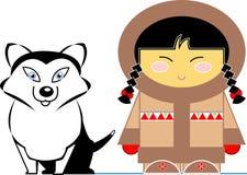 dziewczyna mały jej łuskowaty inuit Royalty Ilustracja