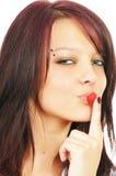 dziewczyna maliny dotyka jej usta Fotografia Stock