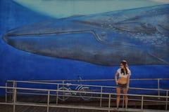 Dziewczyna model na tło ścianie z wzorzystym wielorybem obraz royalty free