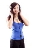 dziewczyna hełmofony Zdjęcie Royalty Free