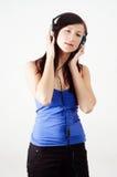 dziewczyna hełmofony Zdjęcia Royalty Free
