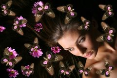 dziewczyna motylia Zdjęcie Stock