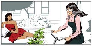 Dziewczyna na bicyklu, jedzie w jardzie Ludzie w retro stylu Zdjęcia Royalty Free