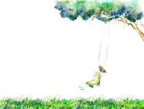 Dziewczyna na huśtawce w kwiatu polu 2007 pozdrowienia karty szcz??liwych nowego roku krajobrazowy wiejski drzewo royalty ilustracja