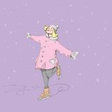 Dziewczyna na icerink Zdjęcia Royalty Free