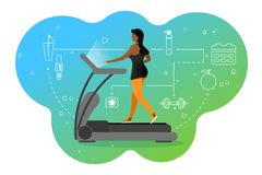 Dziewczyna na karuzeli Bawi się aktywność w gym Barwiący tło i zdrowe styl życia ikony obrazy royalty free