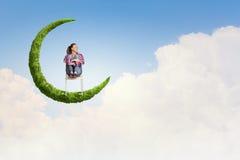 Dziewczyna na księżyc Zdjęcia Stock
