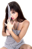 dziewczyna na miecz. Fotografia Royalty Free