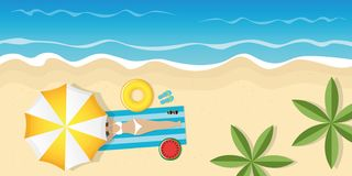 Dziewczyna na pięknej palmy plaży pod parasolem z okularami przeciwsłonecznymi i pływanie dzwonimy ilustracja wektor