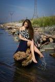 Dziewczyna na plaży przy belami Obrazy Royalty Free