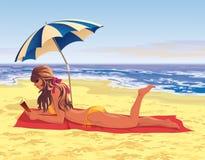 Dziewczyna na plaży ilustracja wektor