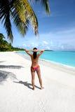 Dziewczyna na plaży Obrazy Royalty Free