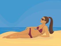 Dziewczyna na plaży Obraz Stock