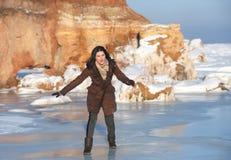 Dziewczyna na plenerowym lodzie, Obraz Royalty Free