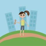 Dziewczyna na ranku jog w miasto parku Zdjęcia Royalty Free