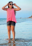 Dziewczyna na Śródziemnomorskim Obrazy Royalty Free
