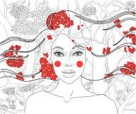 Dziewczyna na tle jagody ilustracji