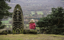 Dziewczyna nad przyglądającym wzgórzem zdjęcie stock