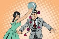 Dziewczyna nalewa wazę kwiaty na mężczyzna ` s głowie Samiec jest w szoku royalty ilustracja