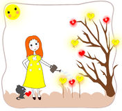 Dziewczyna nawadnia rozsady z podlewanie puszką Zdjęcia Royalty Free
