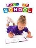 dziewczyna notatnik szczęśliwy mały Obraz Royalty Free