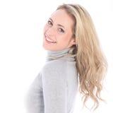 Dziewczyna odbija się tylnych kędzierzawych blondyny Obraz Royalty Free