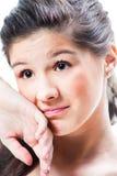 dziewczyna odizolowywający nastolatka spęczenia biel Zdjęcia Royalty Free