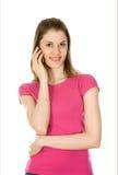 dziewczyna odizolowywający telefonu target345_0_ biel Fotografia Royalty Free