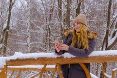 Dziewczyna online w zima parku zdjęcia stock