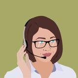 Dziewczyna operatora damy biznesowa brunetka ilustracja wektor