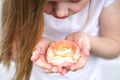 Dziewczyna ostro?nie trzyma pi?knego delikatnego kwiatu Dzieci?stwo ochrona zdjęcia stock