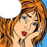 Dziewczyna płaczu wystrzału sztuki rocznika komiczka ilustracji