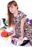 Dziewczyna pakuje rzeczy w walizce Obrazy Royalty Free