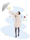 dziewczyna parasol ilustracji