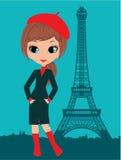 dziewczyna Paris ładny ilustracja wektor