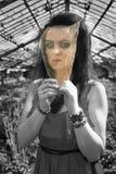 Dziewczyna patrzeje czarno biały świat przez barwionego szkła Obrazy Stock