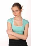 Dziewczyna patrzeje daleko od z makeup z bliska Biały tło Zdjęcie Royalty Free