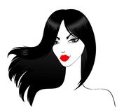dziewczyna piękni czarny włosy tęsk royalty ilustracja