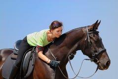 dziewczyna piękny koń Obrazy Royalty Free