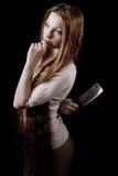 dziewczyna piękny nóż Fotografia Stock