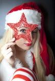 dziewczyna piękny odzieżowy portret Santa Zdjęcia Stock