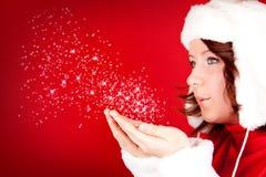 dziewczyna piękny podmuchowy śnieg Obraz Stock